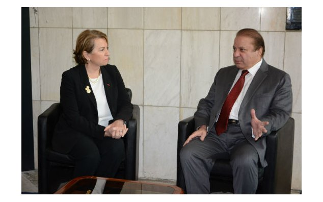 Mr. Nawaz Sharif, Prime Minister of the Islamic Republic of Pakistan, presents his condolences to Mrs. Martine Dorance, Ambassador of France to Pakistan, at the French Embassy Islamabad on 17 November 2015.