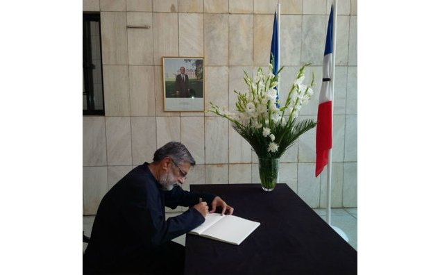 Mr. Rashid Godil, Member National Assembly (MQM) signing the condolence book at the French Embassy