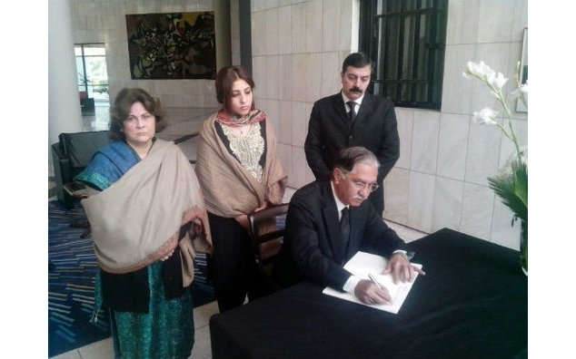 Senator Syed Nayyar Hussain Bukhari, former Chairman Senate, led a delegation of PPP Foreign Liaison Committee for condolences and signing condolences book at the French Embassy