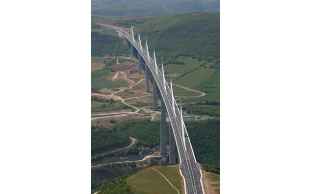 Aerial view of the Viaduct of Millau, highest bridge in the world (343 meters to the top of the pylons)