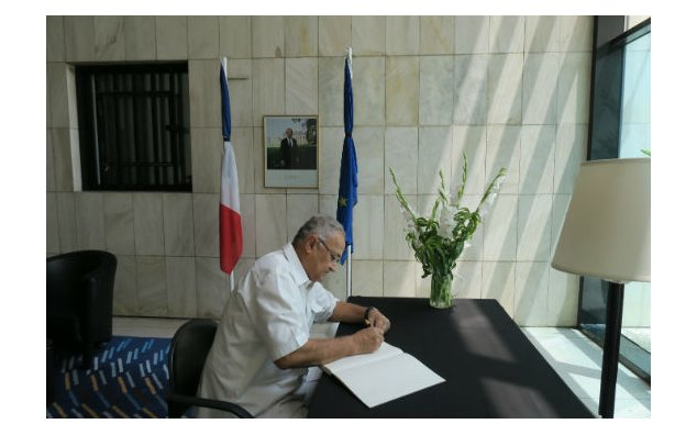 Mr. Nisar Memon, signing condolence book at the French Embassy, Islamabad on 20 July 2016.