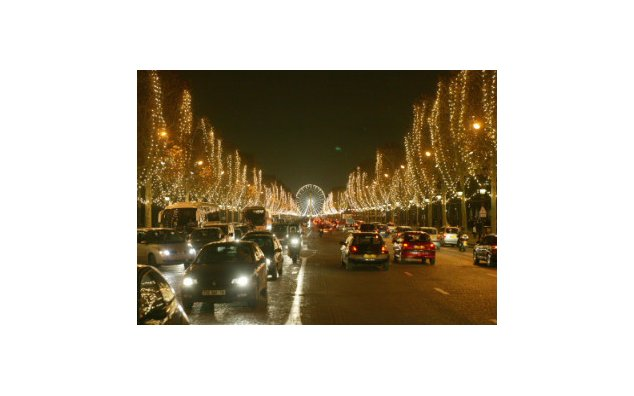 The Champs Elysee Avenue in Paris during the Christmas New Year season