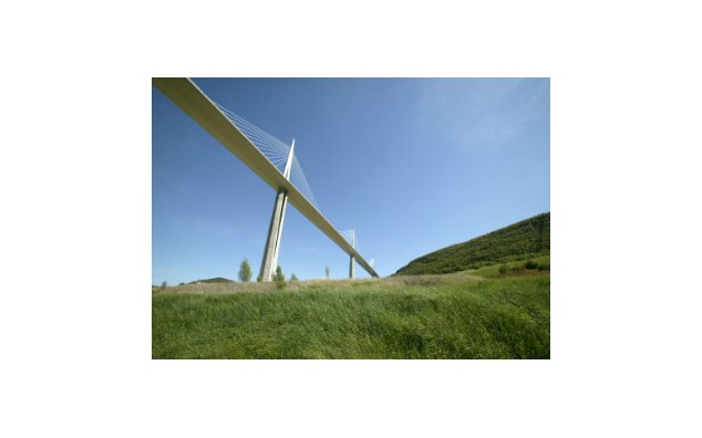 The Viaduct of Millau, highest bridge in the world (343 meters to the top of the pylons)