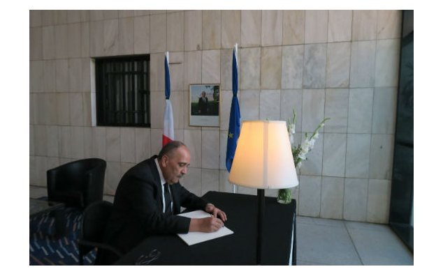The Ambassador of Palestine signing condolence book at the French Embassy Islamabad on 19 July 2016.