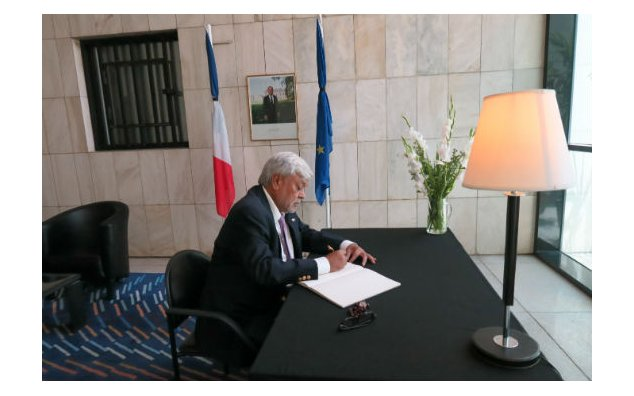 Mr. Hashmat Kazmi, President Global Packers, signing condolences book at the French Embassy Islamabad on 19 July 2016.