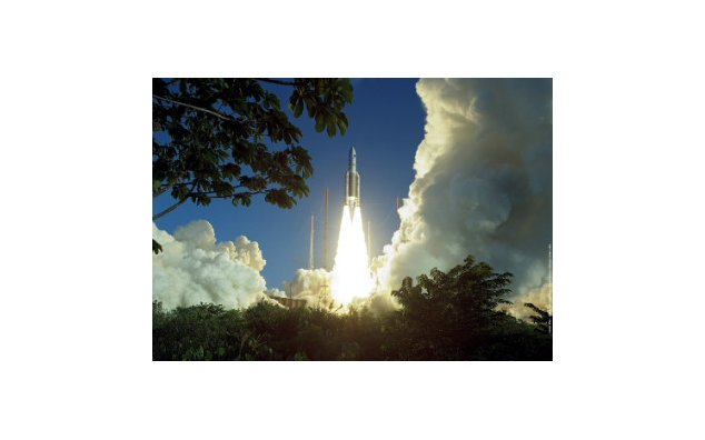 An Ariane 5 rocket takes off on February 12th., 2005, from the Kourou Space Center in French Guyana
