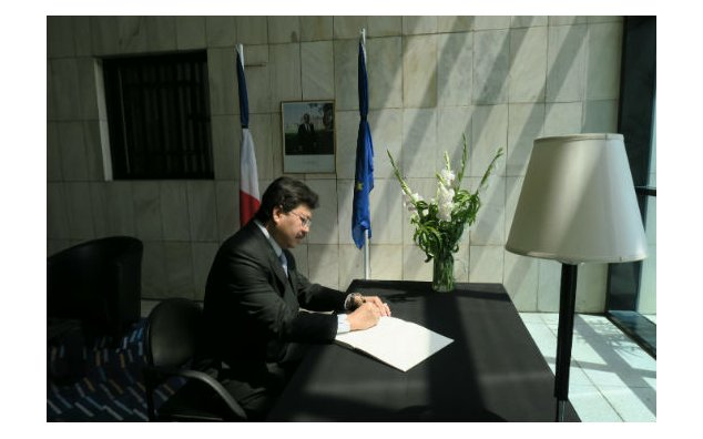The Deputy Nuncio of the Apostolic Nunciature to Pakistan signing condolences book at the French Embassy Islamabad on 20 July 2016.