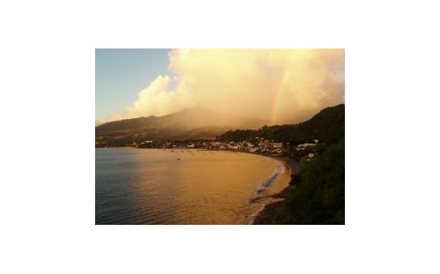 Evening view of the town of Saint-Pierre in Martinique, an overseas French department
